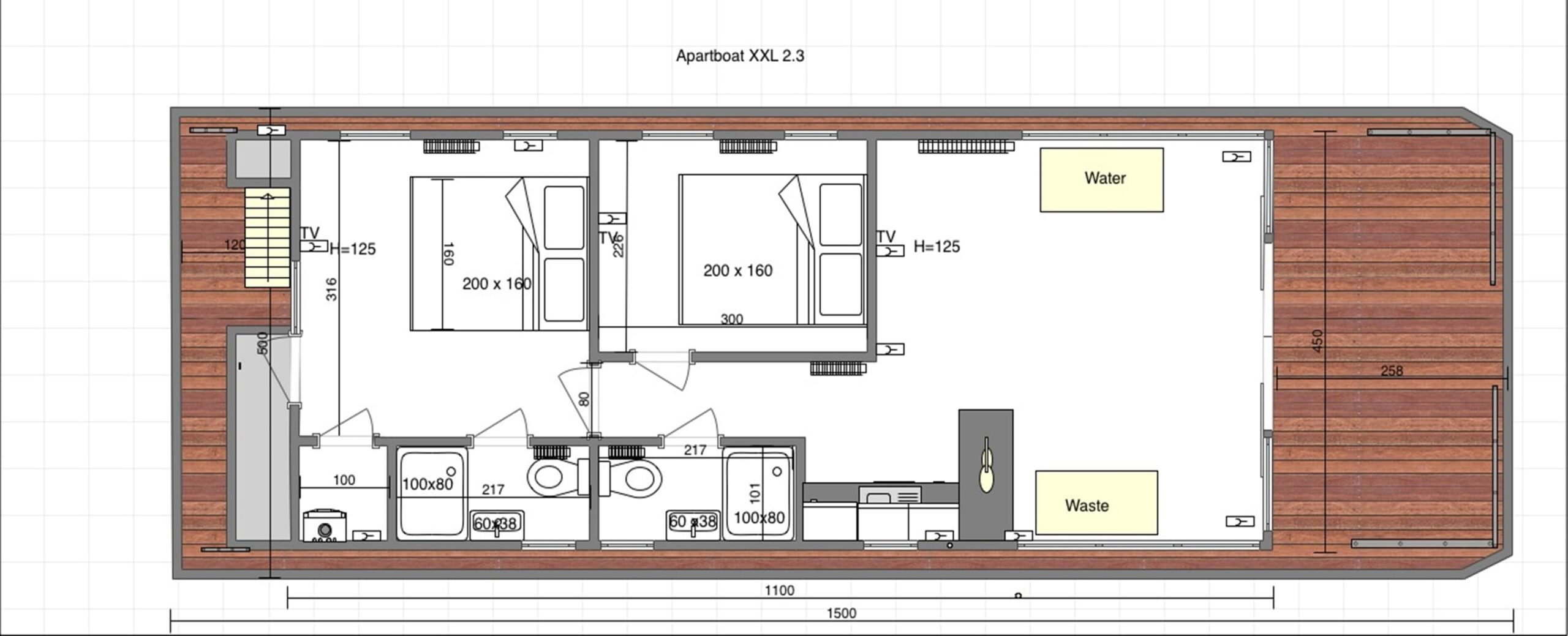 layout modern houseboat