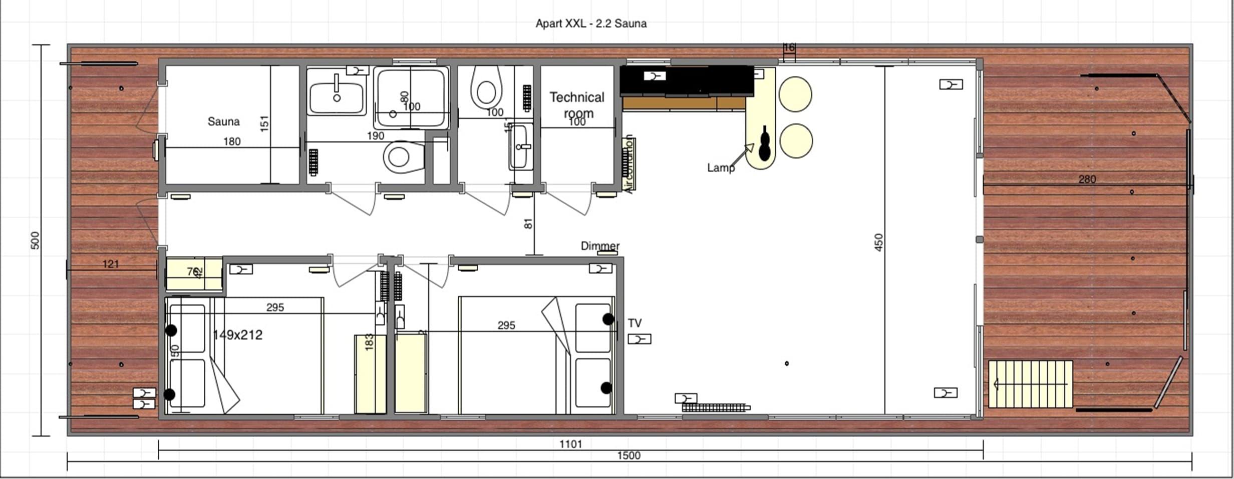 layout water apartment sauna